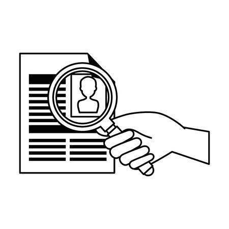 Ilustración de curriculum vitae with magnifying glass vector illustration design - Imagen libre de derechos