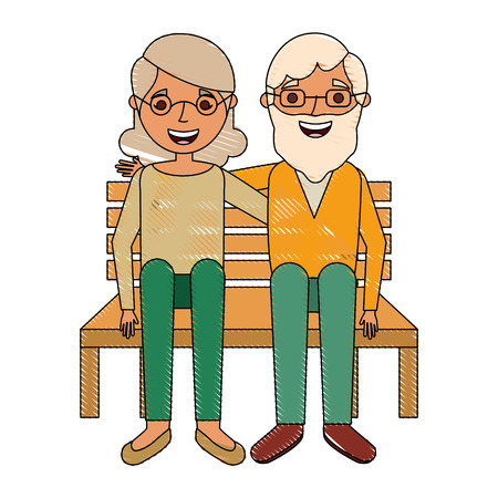Illustration for happy couple grandparents characters sitting in bench - Royalty Free Image