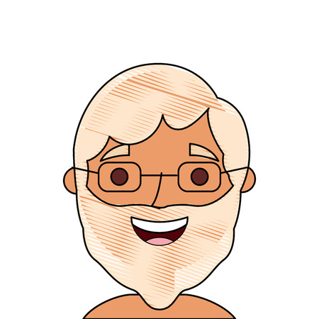 Illustration pour the face old man profile avatar of the grandfather vector illustration - image libre de droit
