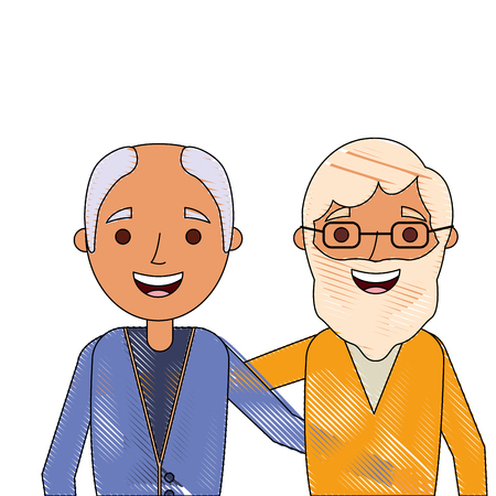 Illustration pour cartoon of two old men embraced friends together vector illustration - image libre de droit
