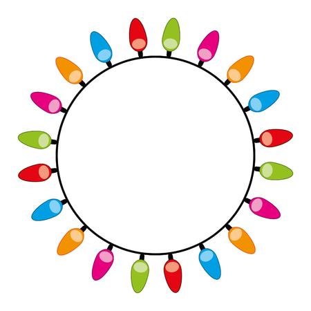 Ilustración de rounded decorate christmas lights design vector illustration - Imagen libre de derechos
