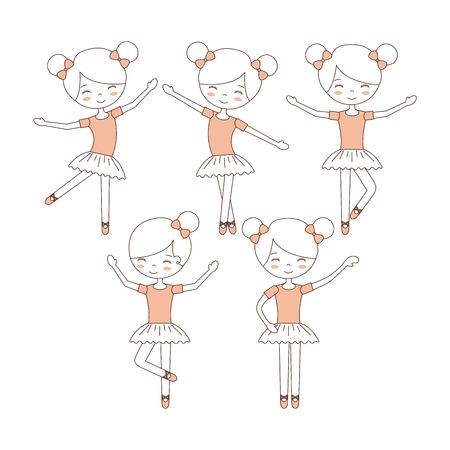 Ilustración de cute ballerina girls practicing ballet dance vector illustration - Imagen libre de derechos