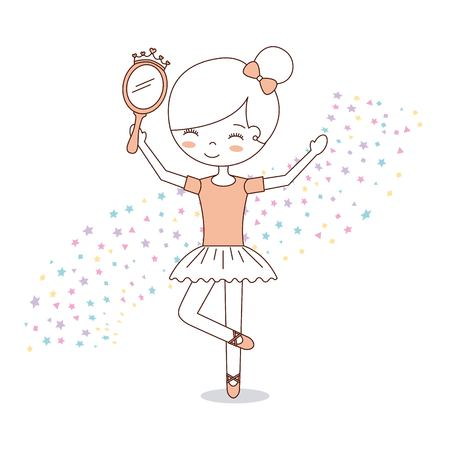 Ilustración de ballet little girl dancing with stars decoration vector illustration - Imagen libre de derechos