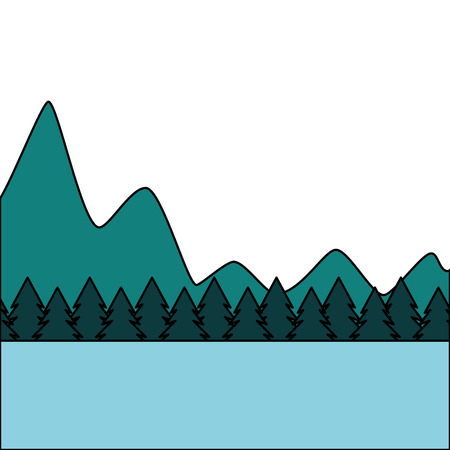 Illustration for natural mountains with tree pines forest landscape vector illustration - Royalty Free Image
