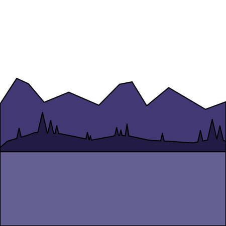 Illustration for landscape with mountains and forest at night vector illustration - Royalty Free Image