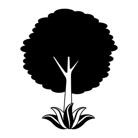 Illustration pour leafy tree leaves trunk foliage natural botanical vector illustration - image libre de droit