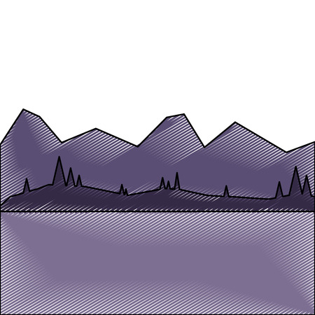 Illustration for landscape with mountains and forest at night vector illustration drawing - Royalty Free Image
