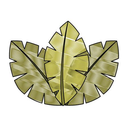 Ilustración de tropical leaves of palm tree flora image vector illustration drawing - Imagen libre de derechos