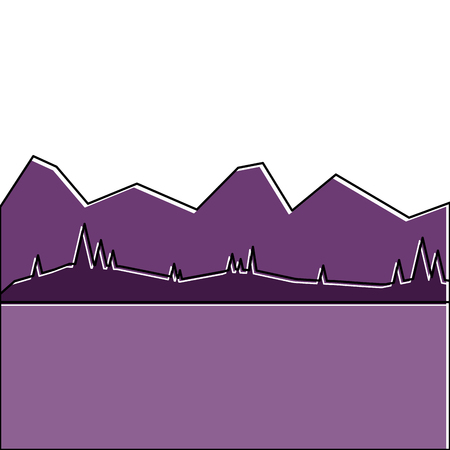 Illustration for landscape with mountains and meadow vector illustration - Royalty Free Image