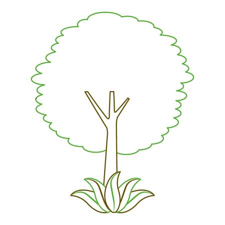 Illustration pour leafy tree leaves trunk foliage natural botanical vector illustration green line - image libre de droit