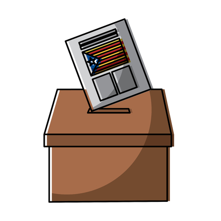 Illustration pour vote box ballot catalonia democracy referendum independence vector illustration - image libre de droit