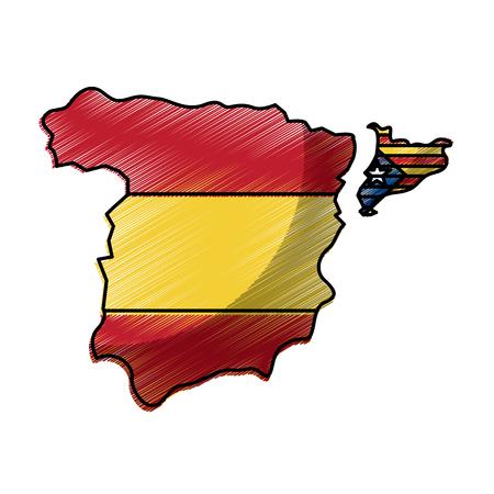Illustration pour spain map and catalonia flag independence vector illustration - image libre de droit