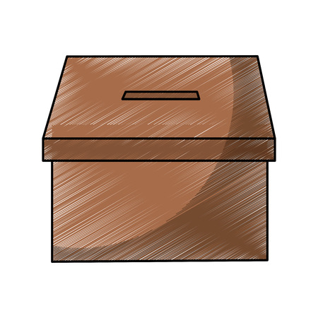 Illustration pour cardboard box for voting political electoral vector illustration - image libre de droit
