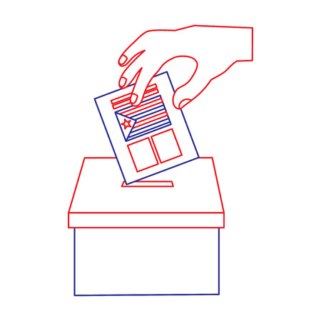 Illustrazione per hand inserting a paper ballot voting in independence catalonia vector illustration - Immagini Royalty Free