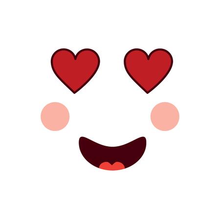 heart eyes love face emoji icon image vector illustration design