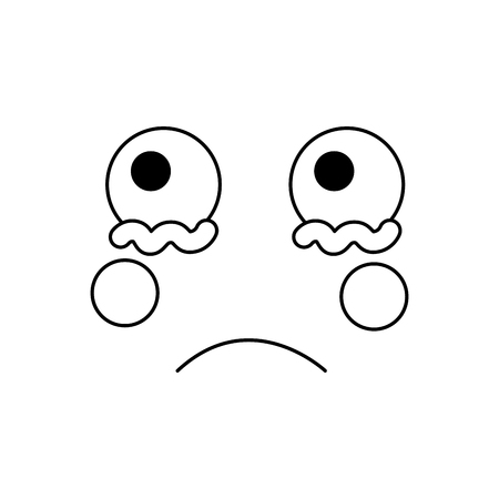 sad crying face emoji icon image vector illustration design