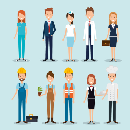 Illustration pour group of professional workers vector illustration design - image libre de droit