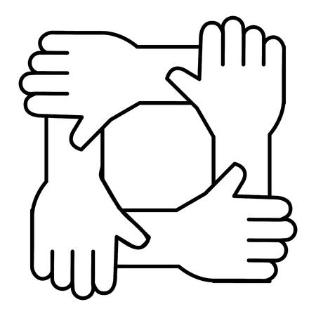 Ilustración de United teamwork hands icon, vector illustration design. - Imagen libre de derechos