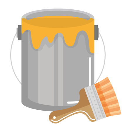 Ilustración de paint brush with pot vector illustration design - Imagen libre de derechos