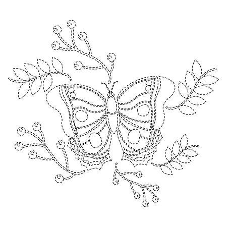 Ilustración de monarch butterfly animal insect with branch berries natural image vector illustration sticker - Imagen libre de derechos