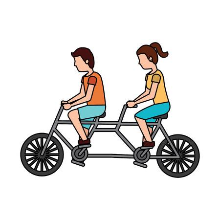 Illustrazione per man and woman riding tandem bike icon image vector illustration design  - Immagini Royalty Free