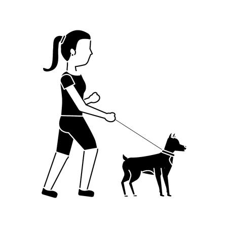 Illustrazione per young woman walking a dog vector illustration - Immagini Royalty Free