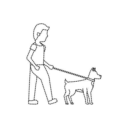 Ilustración de Man walking his dog icon image vector illustration - Imagen libre de derechos
