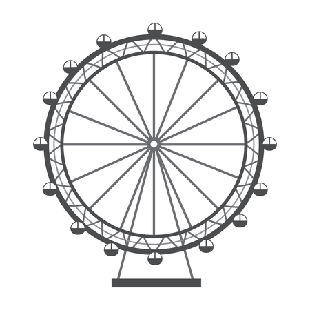 Illustration pour ferris wheel recreation adventure landmark vector illustration - image libre de droit