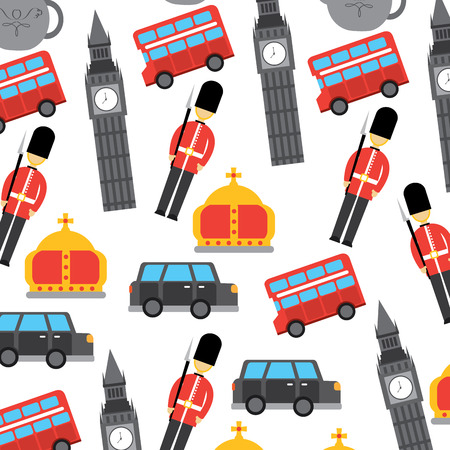 Illustrazione per london and united kingdom city soldier crown taxi bus big ben icons vector - Immagini Royalty Free