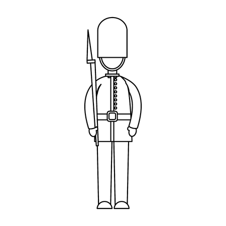 Illustration for cartoon soldier of a queen guard royal in traditional uniform vector illustration - Royalty Free Image