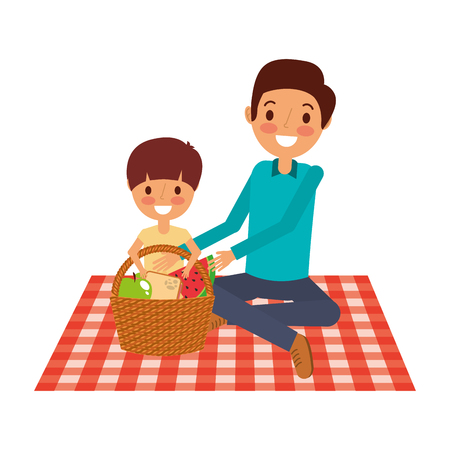 Illustration for father with his son sitting on blanket with food basket vector illustration - Royalty Free Image