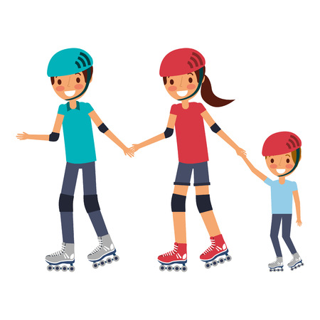 Illustrazione per dad mom and son with roller skate and helmet vector illustration - Immagini Royalty Free