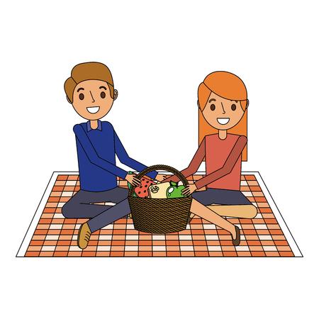 Ilustración de couple parents sitting on blanket picnic and food basket vector illustration - Imagen libre de derechos