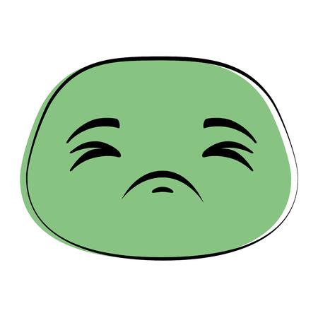 Illustration pour Sad green emoticon face icon  illustration design - image libre de droit