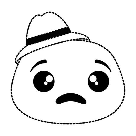 Illustration pour sad emoji face with hat vector illustration design - image libre de droit