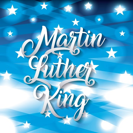 Illustration for Martin Luther king lettering in blue shinny illustration. - Royalty Free Image