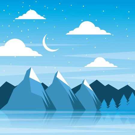 Illustration for night winter mountains moon clouds pine tree reflection vector illustration - Royalty Free Image