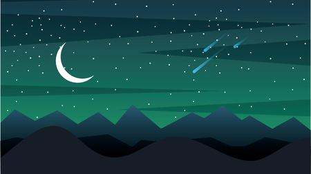 Ilustración de Space landscape with silhouette mountains and crescent moon - Imagen libre de derechos