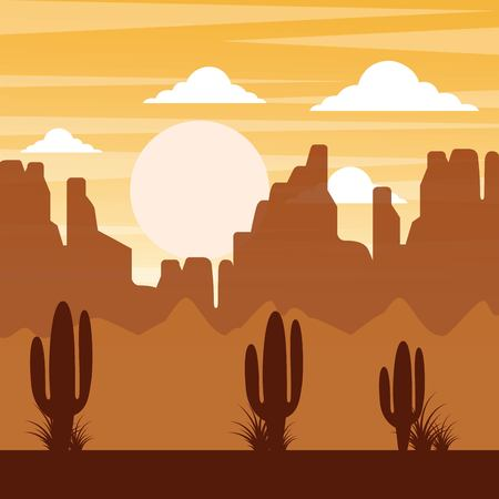Illustration pour cartoon desert landscape with cactus hills and mountains silhouettes nature vector illustration - image libre de droit