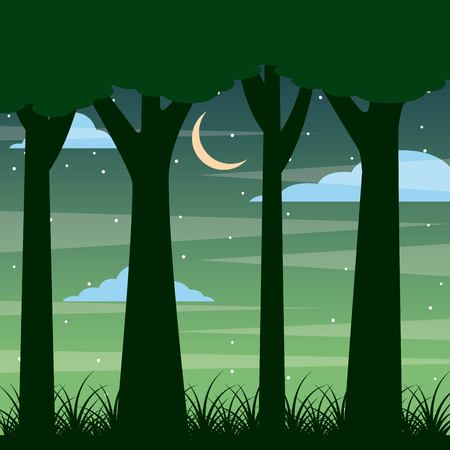 Illustration for forest trunk of tree night landscape with moon and clouds vector illustration - Royalty Free Image
