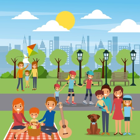 Illustration pour Family in playground illustration. - image libre de droit