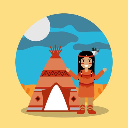 Ilustración de native american indian character teepee landscape vector illustration - Imagen libre de derechos