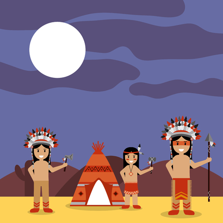 Illustration for Native American Indians with tepee and night landscape vector illustration - Royalty Free Image