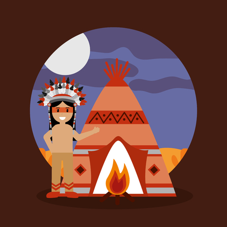 Illustration for native american indian teepee bonfire and night landscape vector illustration - Royalty Free Image