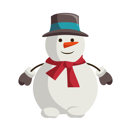 Illustration for snowman with christmas hat character vector illustration design - Royalty Free Image