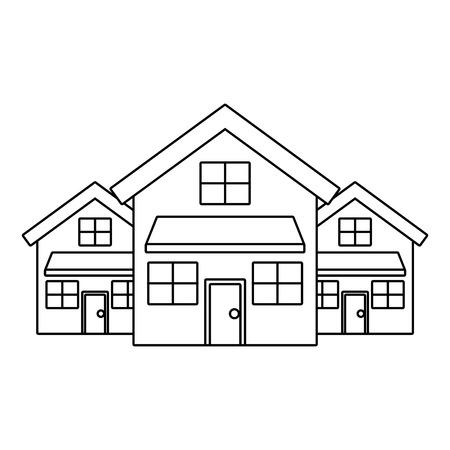 Illustration pour Three modern houses residence two storey neighborhood vector illustration outline design - image libre de droit