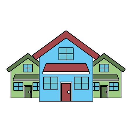 Ilustración de three modern houses residence two storey neighborhood vector illustration - Imagen libre de derechos