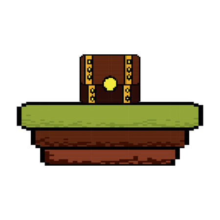 Illustration for Video game treasure chest scene vector illustration pixelated image - Royalty Free Image
