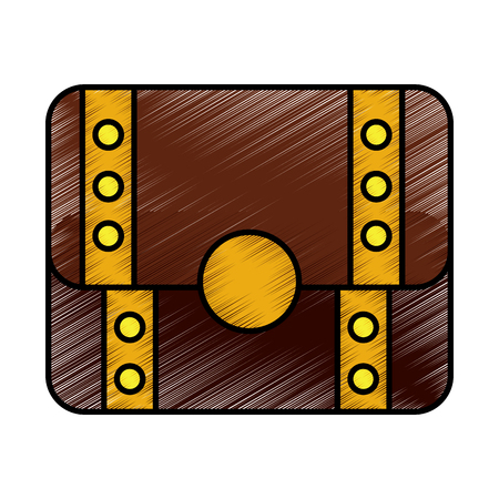 Illustration for Video game treasure chest scene vector illustration drawing - Royalty Free Image