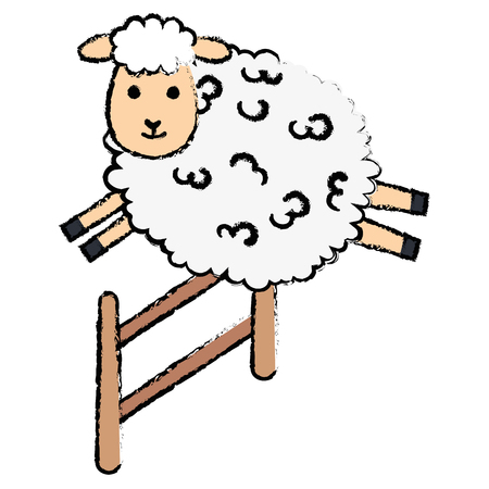 Illustration for cute sheep jumping fence character icon vector illustration design - Royalty Free Image